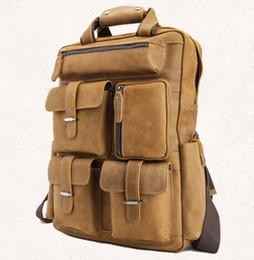 Brun, vrai, cuir, classique, mode, hommes, utilisation, sac à dos, sac à main, bureau, ouvrier, étudiants, jeune à partir de hommes bruns sacs à dos fabricateur