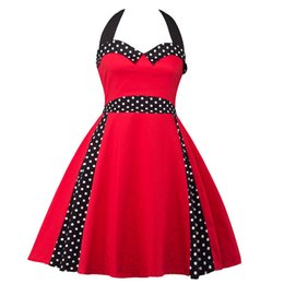 2017 Summer Casual Party Evening Women's Fashion Vintage Hepburn Rockabilly Retro Polka Dots Sleeveless Halter Wiggle Swing Dresses