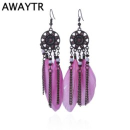 Wholesale AWAYTR Bohemia Vintage Women Dreamcatcher Long Feather Earrings Tassel Bead Dangle Earrings Women Beaded Chain Pendant Earrings