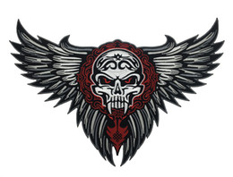 Free Shipping LARGE SKULL WINGS TRIBAL TATTOO BIKER JACKET RIDER VEST EMBROIDERED PATCH IRON ON SEW ON Jacket Embroider
