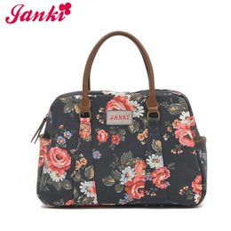 Wholesale JANKI Black and Floral Canvas Material Totes Flowers Paint Women Handbags Fashion Design Best Quality Bags with Factory Price