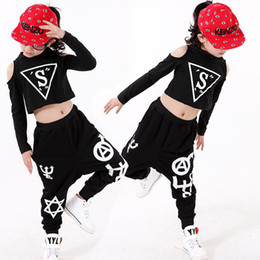 Girls Black Hip Hop Performance outfits Girls Jazz Modern Danceware Costumes Kids dancing Suits clothes set Tops+Pants Outfits
