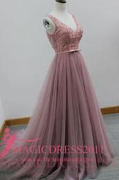 Promotion les brunes Elegant Cameo Brown 2016 Robes de soirée de soirée spéciale d'occasion Deep V-Neck majeur de perles train tribunal Robe formelle pour les robes de fête de célébration