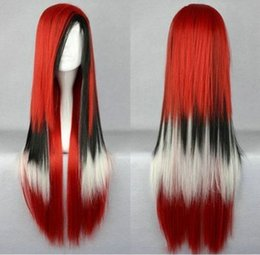 100% Brand New High Quality Fashion Picture full lace wigs>hot! New arrival - Lolita fashion mix red and black long straight wig