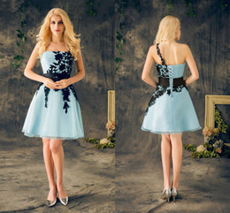 2018 Real Short Homecoming Dresses Light Sky Blue With Black Appliques Lace One Shoulder Cheap Party Dress