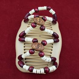 20pcs / lot vin rouge style rond perles en bois classique magique perles peigne femmes accessiorise clips brithday cadeaux de fête à partir de pinces à cheveux ronds fabricateur