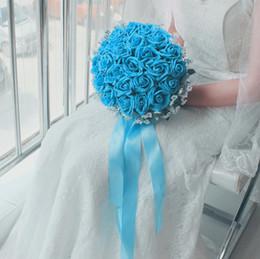 24*Blue roses with white Jasmine wedding bouquets,speical design wedding flowers