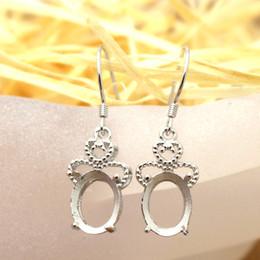 Wholesale 7X9mm Oval Semi Mount Art Deco Sterling Silver Fashion Chandelier Earrings Fine Silver Women Earrings