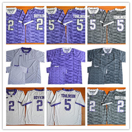 Mens TCU Horned Frogs College Football Custom #2 5 55 65 99 White Gray Purple Limited Stitched Personalized Any Name Number Jerseys S-3XL