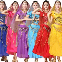 4 pcs(top+Pants+belt+hand chain+) Women Belly Dance Costumes Female Belly Dancing dress Girls Ballroom Performance dancewear