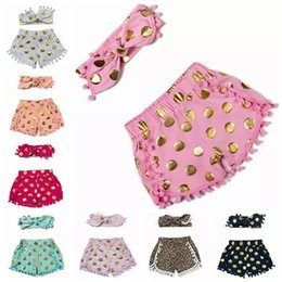 2017 polka dot shorts for baby girl tassel short pants + headbands set kid shorts Pom Pom Bloomers babies children shorts outfit wholesale