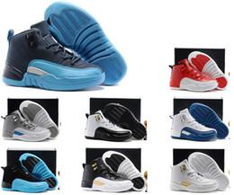 (Nuevo en el rectángulo) Los niños baratos atléticos libres de Shiping y el juego rojo negro de la gripe de las muchachas 12 XII zapatillas de deporte embroma los zapatos de baloncesto desde niños juegos niños proveedores