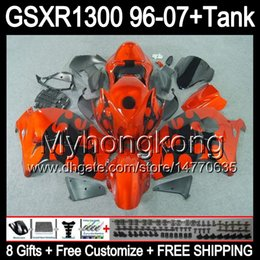 8gift Pour SUZUKI Hayabusa GSXR1300 96 97 98 99 00 01 flammes noires 13MY115 GSXR 1300 GSX-R1300 GSX R1300 02 03 04 05 06 07 TOP orange Carénage à partir de 98 gsxr carénage orange noir fournisseurs