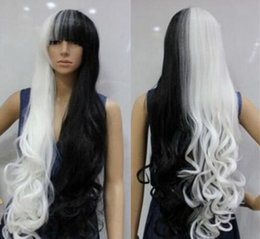 High Quality Fashion Picture full lace wigs >Fashion Girls Straight WHITE BROWN Mixed Hair Women's Long Cosplay Party Wig