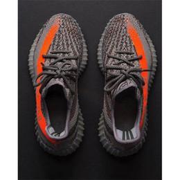 Wholesale Stripe Color Flats - HOT Yezzy Boost Sply 350 Season 3 Orang Stripe man running outdoor shoes Sneakers men women shoes Grey orange color size 8