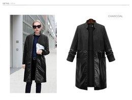 Wholesale 2017 Women s Long Tops Cardigan Coat Stand Collar Woolen PU Leather Patchwork Outwear Plus Size Coats Black