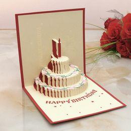 El papel al por mayor-Hecho a mano PARA ARRIBA las tarjetas de cumpleaños con diseño de la vela para la fiesta de cumpleaños libera el envío KT0123 desde velas de cumpleaños barcos fabricantes
