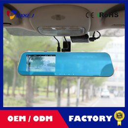 Wholesale car dvd New Novatek P Car Blue Rearview Mirror Camera Dvr Full HD Digital Video Recorder With Two Cameras Auto Dash Cam Black Box