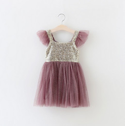 Girls Sequins princess dresses hot sell summer new children tulle tutu dress branded girls Suspender Dress kids Christmas party dress 3584