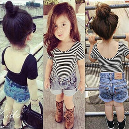 Ins Baby Girls Backless striped short sleeved T-shirt Cute Infant Toddle Slim Tops Tees Kids Tshirts Children Clothes Clothing