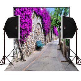 purple blossoms rock wall village road photo background for wedding photos camera fotografica digital studio vinyl photography backdrops