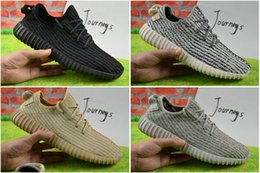 Wholesale 2017 Réduction en gros Kanye West Y Boost Pirate Noir Bas Sports Chaussures de Course Femmes et Hommes Sneakers Training Boots Wth Box Eur36