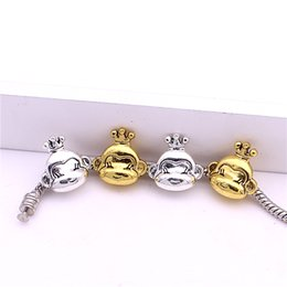 Wholesale Sweet Bell Min order mm Hot Sale Antique silver gold plated Crown Monkey Bead Bracelet Jewelry Charm Free Shiping Z9003