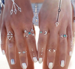 Wholesale Bohemian Style Pck Vintage Anti Silver Color Rings Arrows Moon Lucky Rings Set for Women Party