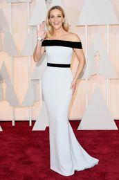 Грязно-белый ковер для продажи-87-я ежегодная Оскар платье красного ковра 2016 плеча белый и черный Риз Уизерспун Русалки вечерних платьев
