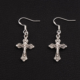Jerusalem Cross Earrings 925 Silver Fish Ear Hook 40pairs lot Antique Silver Chandelier E427 15.2x41.5mm