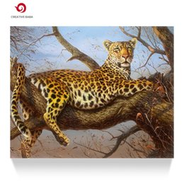 Hand painted oil painting animal leopard living room office decoration