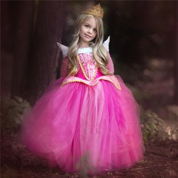 Wholesale 2016 Hot Elegant Dream Princess Dress Aloha Long Sleeve Blue Pink Child Beautiful Cinderella Dress Chrismas Dinner Party Gift