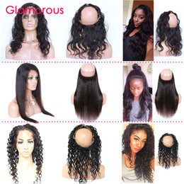 Glamorous Human Hair 360 Frontals Body Wave Straight Deep Wave Curly Brazilian Hair 360 Lace Frontal Closures 22.5x4x3 Round Lace Closures