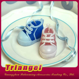 Wholesale Cute Blue Christmas Shoes - Free Shipping Top Quality Wedding Favor Cute Baby Shoes Candles For Wedding Birthday Christmas Party Decoration 20pcs lot
