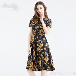 Descuento damas mini vestido vestido Vintage A-Line vestidos de las mujeres Impreso Princesa Verano Empire Hoppen Estilo Vestidos de Baile Slim Midi Longitud Vestidos Casual para Lady