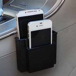Wholesale Cell Phone Storage Boxes - Wholesale-New Black 10*3*8cm Mini Convenient Auto Car Cell Phone Card Glasses Storage Box Plastic Case cellular phone support