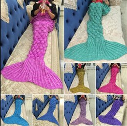 Wholesale 2016 Hot Crochet Mermaid Tail Blanket with scale colors Blanket Bed Sleeping Costume Mermaid Air condition Knit Blanket CM