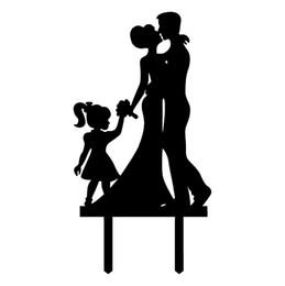 European style new black acrylic cake card, happy family of three, wedding cake decorations