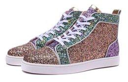 La conception de chaussures de couleur à vendre-Haute qualité Hommes Femmes Trois couleurs paillettes lutte couleur Spangle Fashion HighTop Casual Chaussures avec fond de l'UE, Unisex Design New Flat Shoes