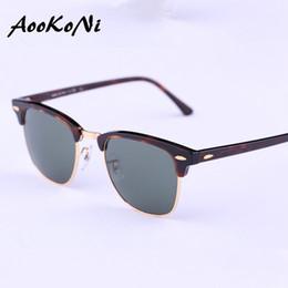 Espejo de cristal clásico en Línea-Las gafas de sol clásicas de los hombres de las gafas de sol de AOOKONI diseñan a marca de fábrica Gafas de sol retras del club del espejo del revestimiento G15 Semi del revestimiento G30 Oculos De Sol nuevas bisagras