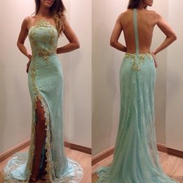 Wholesale Mint Green See Through Sexy Prom Dresses Leg Slits Sheer Neck Back Beads Appliques Mermaid Evening Gowns Side Splits Lace cocktail party dre
