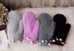 Wholesale Autumn And winter New Handmade Diamond Pearl Long Rabbit Plush Double Layer Thermal Insulation Continuous Finger Gloves Rabbit Warm Gloves