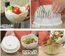 Wholesale Cooking Cutters Second Salad Maker Bowl Fruit Vegetable Salad Cutter Bowl Quick Washer Chopper Tools for Kitchen Accessories