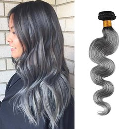 Human Hair Bundles Ombre Color T1B Gray Body Wave Human Hair Weft 100g pc 12''-28''100% Unprocessed Virgin Human Hair Weave Cheap Price