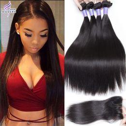 Modern Show Brazilian Straight Hair 3 Bundles with Lace closure Remy Brazilian Virgin Hair Straight Human Hair Weaves Natural Black 1B