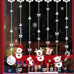 Wholesale Hot Sale Christmas Shop Glass Window Stickers PVC Classic Hanging Snowman Gift Xmas home decor Christmas Ornaments Wall Sticker