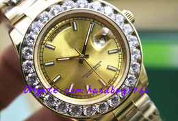 Wholesale Automatic machinery watches Ladies MENS big diamond wristwatch gold Stainless steel strap gold dial mm mm With date