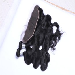 Fashion Brazilian Virgin Hair 3 Bundles Natural Color Body Wave Human Hair Weft With 1 piece 13*4 Lace Frontal Closure