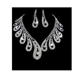 white crystal waterdrop wedding bride set necklace earings (88) dfgd