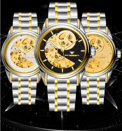 Wholesale Skeleton Automatic Wristwatch Tourbillon Men Waterproof Love Hugs Stainless White Gold Black Auto Mechanical Brand Watches Valentines Gift